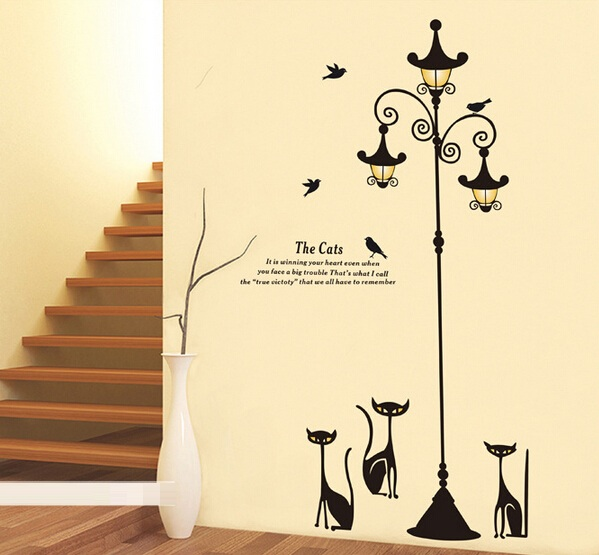online home decor shopping in pakistan popular ancient lamp cats and birds wall sticker 13527