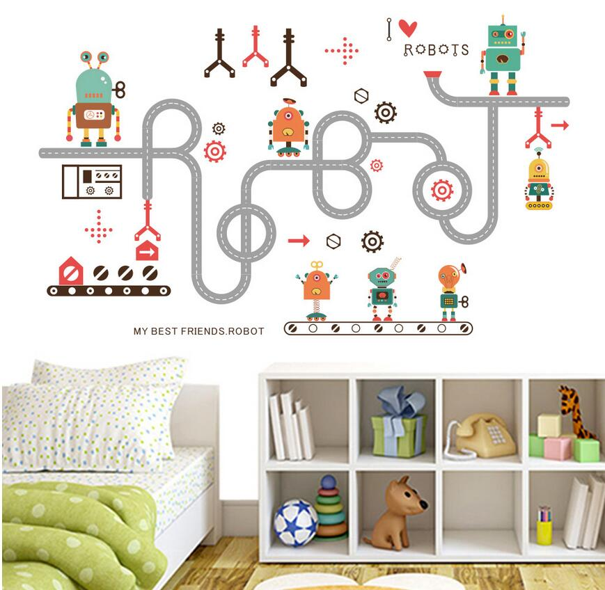 online home decor shopping in pakistan robots pipes writing robot wall sticker 13527